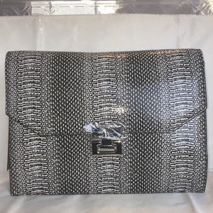 Ivanka Trump Hopewell Clutch Black/White Snake NWT